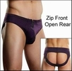 Men's Zip Front Open Rear Bikini Underwear