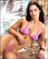 Micro String Bikini Metallic Pink Waves