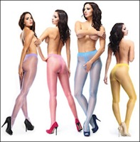 Miss O Crotchless Pantyhose in Bright Colors