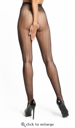 Crotchless Pantyhose Pinstriped Fishnet