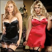 Plus Size Baby Doll Satin & Sheer