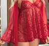 Plus Size Baby Doll Set Ravishing Red Lace