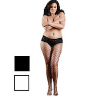 Plus Size Diamond Net Boy Short Pantyhose