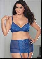 Royal Affair Plus Size Bra, Panty, Garter Belt & Stockings