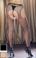 Plus Size Fishnet Suspender Crotchless Pantyhose