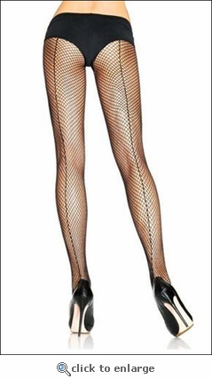 Plus Size Fishnet Pantyhose with Backseams