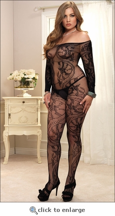 Plus Size Lace Net Off Shoulder Bodystocking