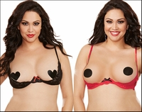 Plus Size Shelf Bra Lace Open Cups