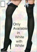 Plus Size Stockings White with Lace Ruffle & Bow