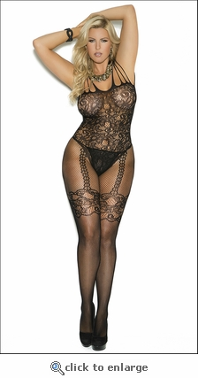 Queen Bodystocking Fishnet Patterned Lace