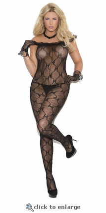 Queen Bodystocking Off Shoulder Ruffled Lace & Bows