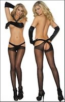 Queen Size Criss Cross Crotchless Suspender Pantyhose
