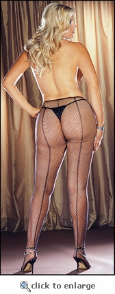 Queen Size Fishnet Backseam Pantyhose