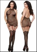 Queen Size Gartered Chemise Art Deco Lace Net