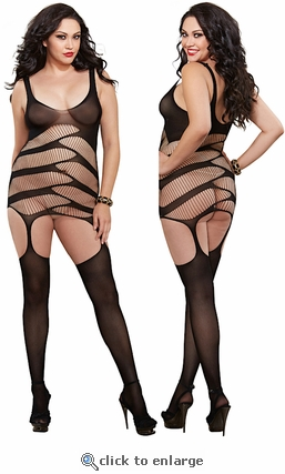 Queen Size Slash Gartered Dress & Stockings