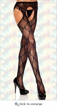 Queen Size Suspender Pantyhose Lace & Bows