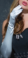 Seductive Silver Satin Gloves