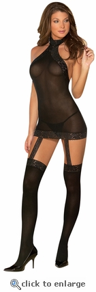 Sheer Garter Dress & Stockings