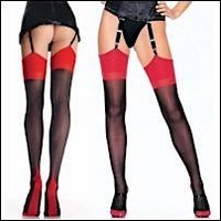 Cuban Stockings Backseamed Semi Opaque Black & Red