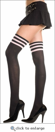Stockings Opaque Black with Accent Bands