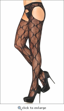 Suspender Crotchless Pantyhose Lace & Bows