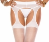 Suspender Crotchless Pantyhose White