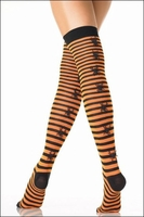 Thigh Highs Striped with 3-D Spiders