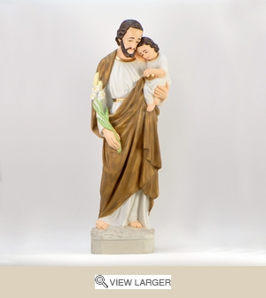 "24"" Painted Saint Joseph w. Child Statue"