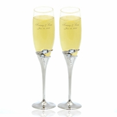 Personalized Rings Wedding Flutes