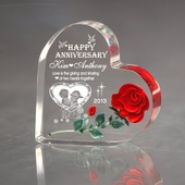 Personalized Anniversary Couple Heart with Red Rose