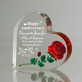 Personalized 'Forever Love' Anniversary Heart w/ Rose