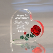 Personalized 'Happy Anniversary' Heart w/ Rose