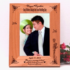 engraved wooden wedding frame picture frames
