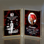 Personalized Red Dual Frame Graduation Plaque