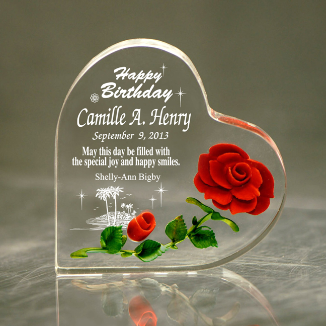 Happy Birthday Hand Carved Red Rose Heart Mừng Sinh Nhật