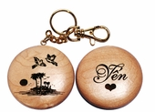 'Love Birds' Wooden Key Chain