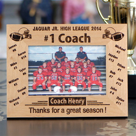 Personalized '#1 Football Coach' Photo Frame FSP441 - Sport Party ...