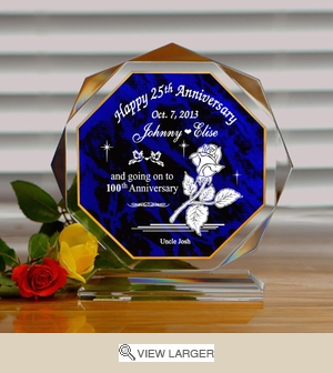 Personalized Anniversary Rose Polygonal Keepsake