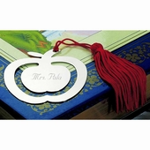 Personalized Apple Bookmark with Red Tassel