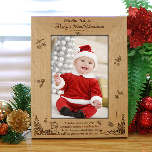 Personalized Babys First Xmas Wood Photo Frame Holiday Photo Frames