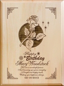 Personalized Birthday Rose Wood Plaque
