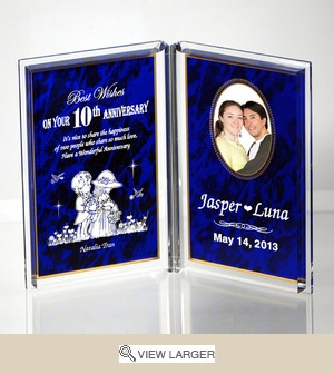 Personalized Blue 'Anniversary Happiness' Dual Frame Keepsake
