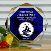 Personalized Blue Octagon Birthday Keepsake