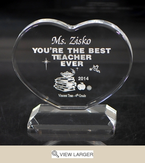 Personalized Clear Acrylic Heart for Teacher