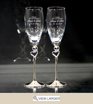 Personalized Crystal Hearts Anniversary Flutes