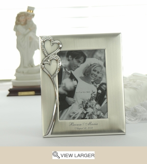 Personalized Crystal Hearts Silver Photo Frame
