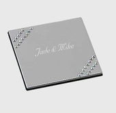 Personalized Crystal Stud Square Mirror Compact