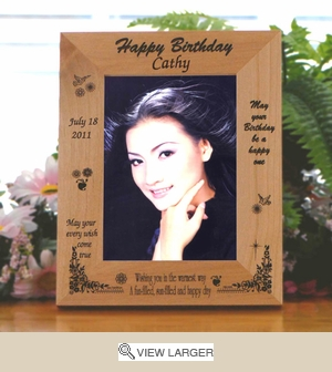 Personalized Fun-Filled Wood Birthday Photo frame