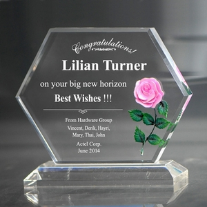 Personalized Pink Rose Goodbye Acrylic Keepsake