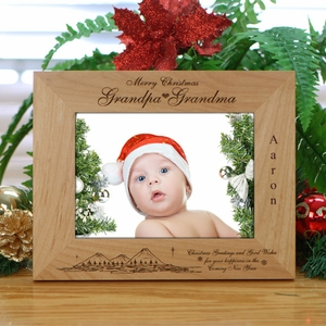 Personalized Grandpa Grandma Wood Christmas Frame